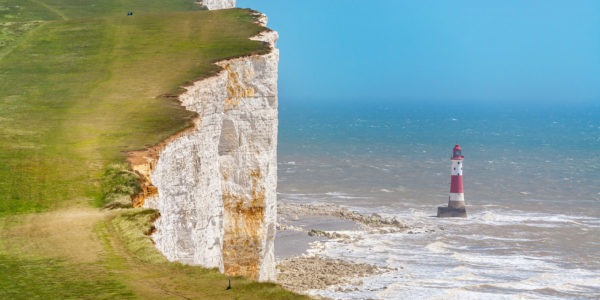 Chalk cliffs and lighthouse at Beachy Head near Eastbourne. East Sussex. England